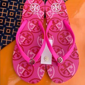 Tory Burch Thin Flip Flop Flat Sandals Fire Pink